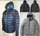 NWT Eddie Bauer Mens First Ascent Downlight Hooded Jacket Black Steel Indigo