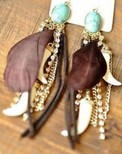 Turquoise European Beauty Hot Feather Charm Earrings Tassel Dangling