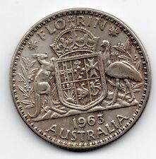 1963 Australia Elizabeth II Silver One Florin Two Shillings Coin #C4