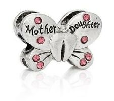 SILVER MOTHER DAUGHTER PINK RHINESTONE CRYSTAL BUTTERFLY CHARM BEAD