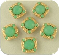 2 Hole Beads 8mm Chalcedony Green Swarovski Crystal Elements~Gala Sliders QTY 6