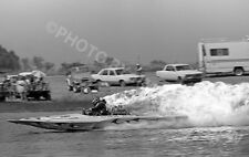 DRAG RACING DRAG BOAT PHOTO TOP FUEL HYDRO DOWN & OUT FIRE 1979 RON CAMPNGNOLI