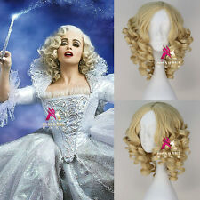 New Movie Cinderella Fairy Godmother Wig Short Curly Blonde Anime Cosplay Wig