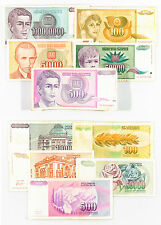 10 diff. Yugoslavia currency some high values 1990's nice circulated