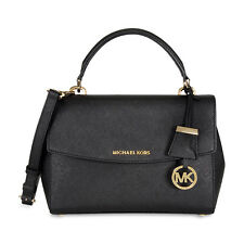 Michael Kors Ava Saffiano Leather Crossbody Satchel - Black