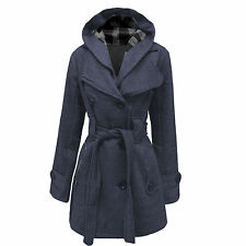 LADIES WOMEN'S HOODED BUTTON BELTED COAT JACKET WINTER WEAR SIZES 8 - 20