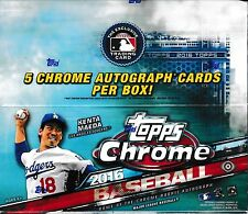 2016 Topps Chrome Baseball Sealed Hobby Jumbo Box 12 packs of 13 cards 5 auto