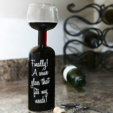 Full Wine Bottle Glass Brand New Novelty Gift Party White Red Rose