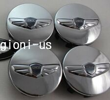 HYUNDAI GENESIS COUPE FRONT REAR CHROME WING EMBLEM WHEEL CAP SET SILVER
