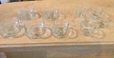 15 Piece 80's Vintage Arcoroc France Classique Clear Glass Tea Cup & Saucers