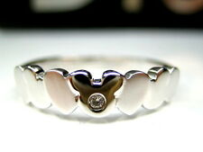 4.5,5.5,6,7,8,9   AUTH DISNEY MICKEY MOUSE HEART STERLING SILVER PLATINUM RING