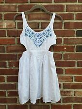 Hollister White Cutout Beaded Embroidered Blue Knit Dress * 3 XS S *