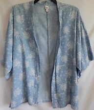 Plus Size 1X 14W/16W Chambray Blue White Floral Short-Sleeve Cardigan Blouse