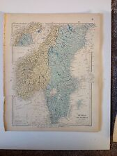 Stanford's Map Sweden Norway c1880 London Atlas of Universal Geography Rare