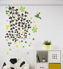 Wall Stickers Branches with Leaves Flowers and Bird Home Wall Art