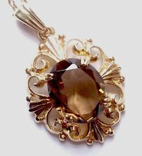 BEAUTIFUL VINTAGE 9CT GOLD & SMOKEY QUARTZ PENDANT & CHAIN NECKLACE 1977