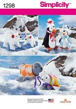 SIMPLICITY SEWING PATTERN stuffed TOYS polar bears penguins seals  1298 A