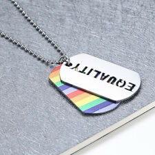 EQUALITY Rainbow LGBT Pride Jewelry - Gay Lesbian Dog Tag Pendant Necklace