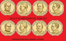Complete set P&Ds 2013 Presidents 8coin set.
