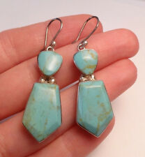 SIGNED HOB MEXICO TURQUOISE DANGLE EARRINGS STERLING SILVER 925 (12.9g)