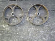 "2 ANTIQUE IRON WHEELS, 4 3/8""  INDUSTRIAL CART EXCELLENT CONDITION"