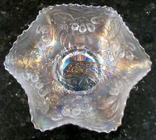 Fenton PEACOCK AND URN White Ruffled Carnival Glass Bowl circa 1915*Elegant!