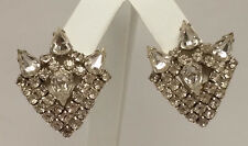 Vintage WEISS clear Rhinestone Silvertone CLIP Earrings MODERNIST ABSTRACT euc