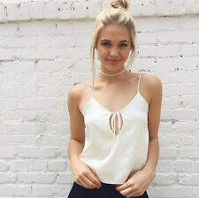 New! Brandy Melville cream tie front v neck Ace silky adjustable tank top NWT S