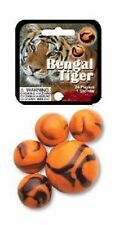 Mega Marble- 24 Collectible Marbles,1 Shooter, Net bag- Bengal Tiger