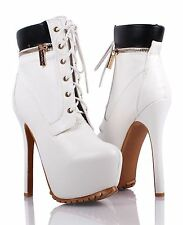 """Fashion Party Combat Military Lace Up Stilettos Mid Calf 6"""" Heels Women Boots"""