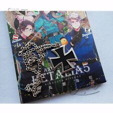 APH Axis Powers Hetalia German Prussia Metal Black Cross Necklace Chain Cosplay