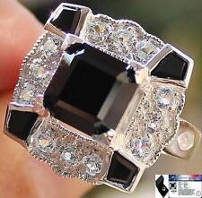 Natural 6.0 Cts Art Deco Black SPINEL & W TOPAZ 925 Sterling Silver RING S7.5
