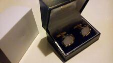 Esmalte Plateado Oro Retro Vintage Diseño Grabado de huellas digitales Oval cufflings ***