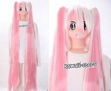 Y-264 Vocaloid Miku Weiss rosa pink Mix 120cm Pony cosplay peluca Wig calor fijo