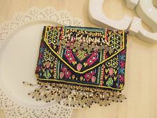 Ethnic Embroidered Mirror Envelope Clutch Bag Embellished Gold Chain X Body