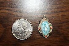 Vintage Catholic Religious Medal STERLING GUILLOCHE enamel  MIRACULOUS 200000