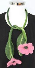 Damen Modeschmuck Halskette Filzkette Trachten Blumen 94 cm lang rosa grün