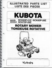 Kubota RCK60P-21Z RCK60P-28Z RCK72P-28Z Zero Turn Mower Illustrated Parts Manual