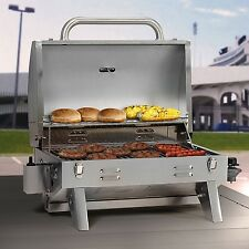 Stainless Steel Tabletop LP Gas Grill 305 Sq Inch Portable Locking Hood Camping