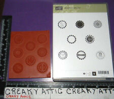 STAMPIN UP MEDAILLONS SEDUCTION 8 CLING RUBBER STAMPS FRENCH SCALLOP CIRCLES