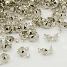 100x Iron End Silver Plated Open Bead Tips Clamshells Calottes Jewellery Making