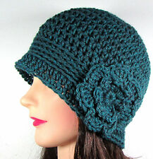 Handmade Womens Crochet Cloche Beanie Hat Flower 1920s TEAL Acrylic One Size