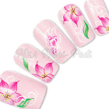 Nail Art Water Slide Transfers Decals Wraps Pink Tropical Flowers Butterfly G104