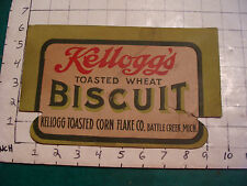 vintage V Early KELLOGG'S TOASTED BISCUIT Sign, 1910's or 20's part of box ??