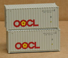 2 Walthers #8052, UPGRADED HO 20' corrugated Containers, OOCL