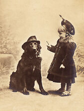 FLAT COATED RETRIEVER LOVELY DOG GREETINGS NOTE CARD GIRL & DOG WITH PIPE & HAT