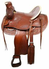"Buffalo 16"" Bear Trap Wade Style Hardseat with White Rawhide RANCH Saddle"