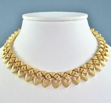 Vintage Necklace MONET 1970s Goldtone Etruscan Style Collar Bridal Jewellery