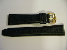 Brand New 20mm Black Leather Strap & 16mm Omega Gold Plated Buckle