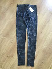 Forever21 Metallic Silver Black Reggings Pants Size.XS NWT
